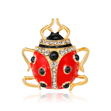 Japan and South Korea fashion personality cartoon studded drop of oil Coccinella brooch quick sell hot corsage spot