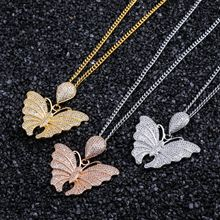 Cubic Zircon Butterfly Pendant Necklace Hip Hop Brass Gold Color Iced Out Chains Charm For Men Gifts
