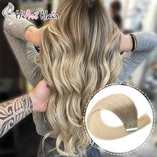 HiArt Extensions de cheveux naturels, avec bande, Balayage, trame de cheveux naturels lisses, Double tirage, pour Salon de coiffure, 18, 20 ou 22 pouces, 2.5g par pièce