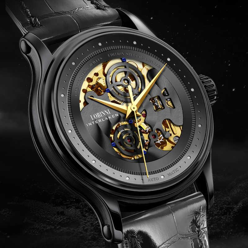 Lobinni Selbst-Wind Automatische Uhr Uhr Männer Wasserdichte Leder Mechanische Top Schweiz Marke Skeleton Uhr Relogio Masculino