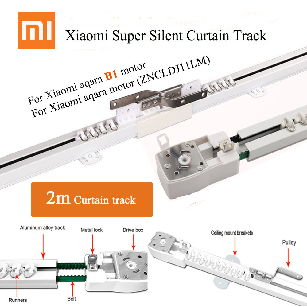 2m Customizable Super Silent Electric Curtain Track For Xiaomi Aaqra B1 Motor, MijiaAqara Motor And DOOYA DT82/KT82/KT32 Motor,