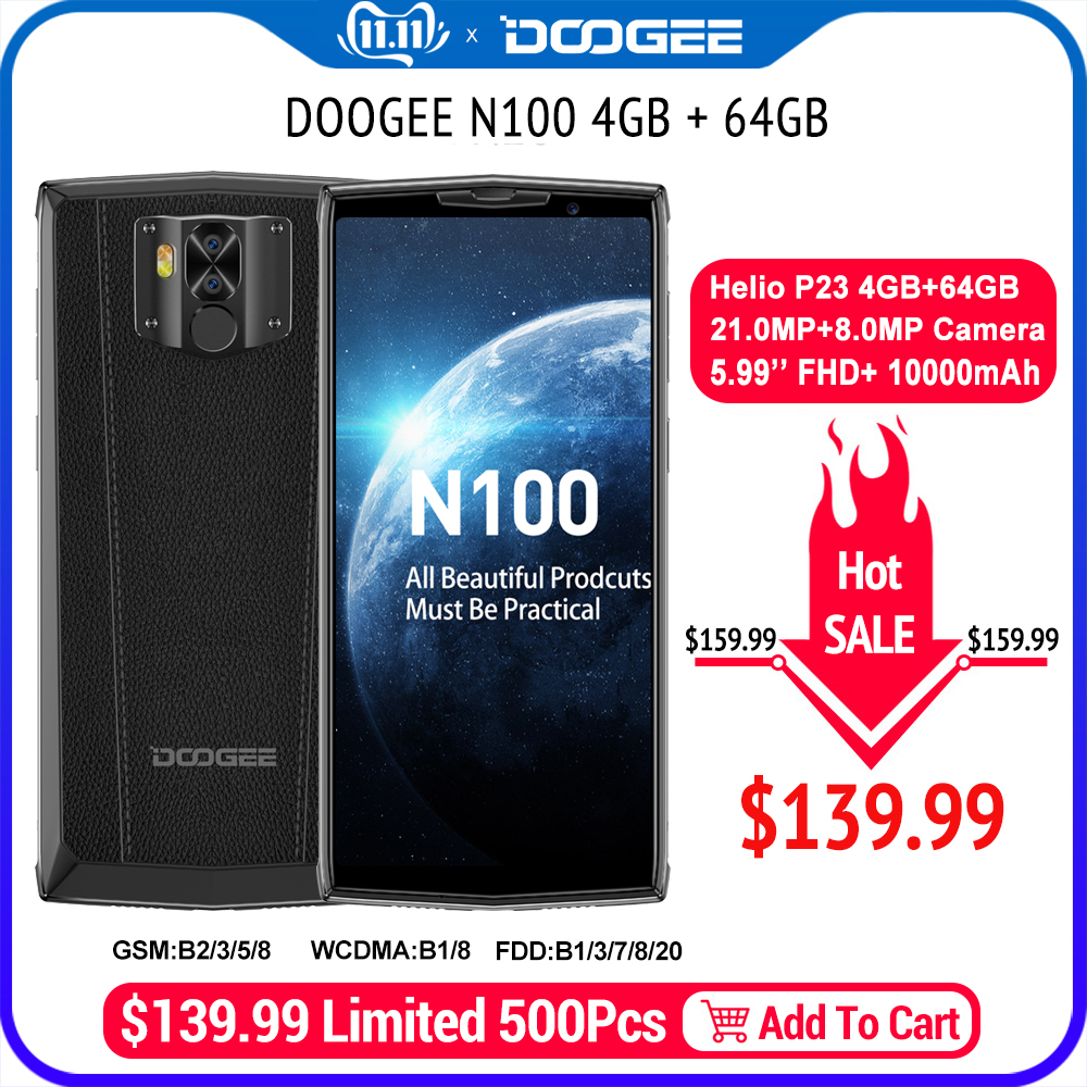 DOOGEE N100 Mobiltelefon 10000mAh Batterie Fingerprint 5,9 zoll FHD + Display <font><b>21MP</b></font> Kamera MT6763 Octa Core 4GB 64GB Handy 4G-LTE image