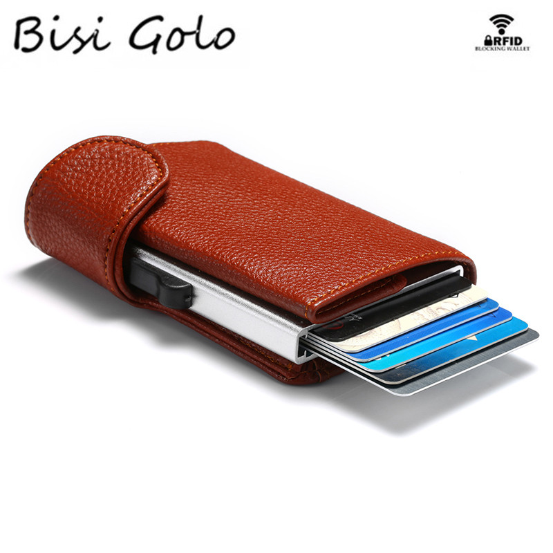 BISI GORO 2020 Metal RFID Credit Card Holder Single Aluminum Box Card Wallet Fashion PU Leather Soft Men And Women Pop Up Wallet