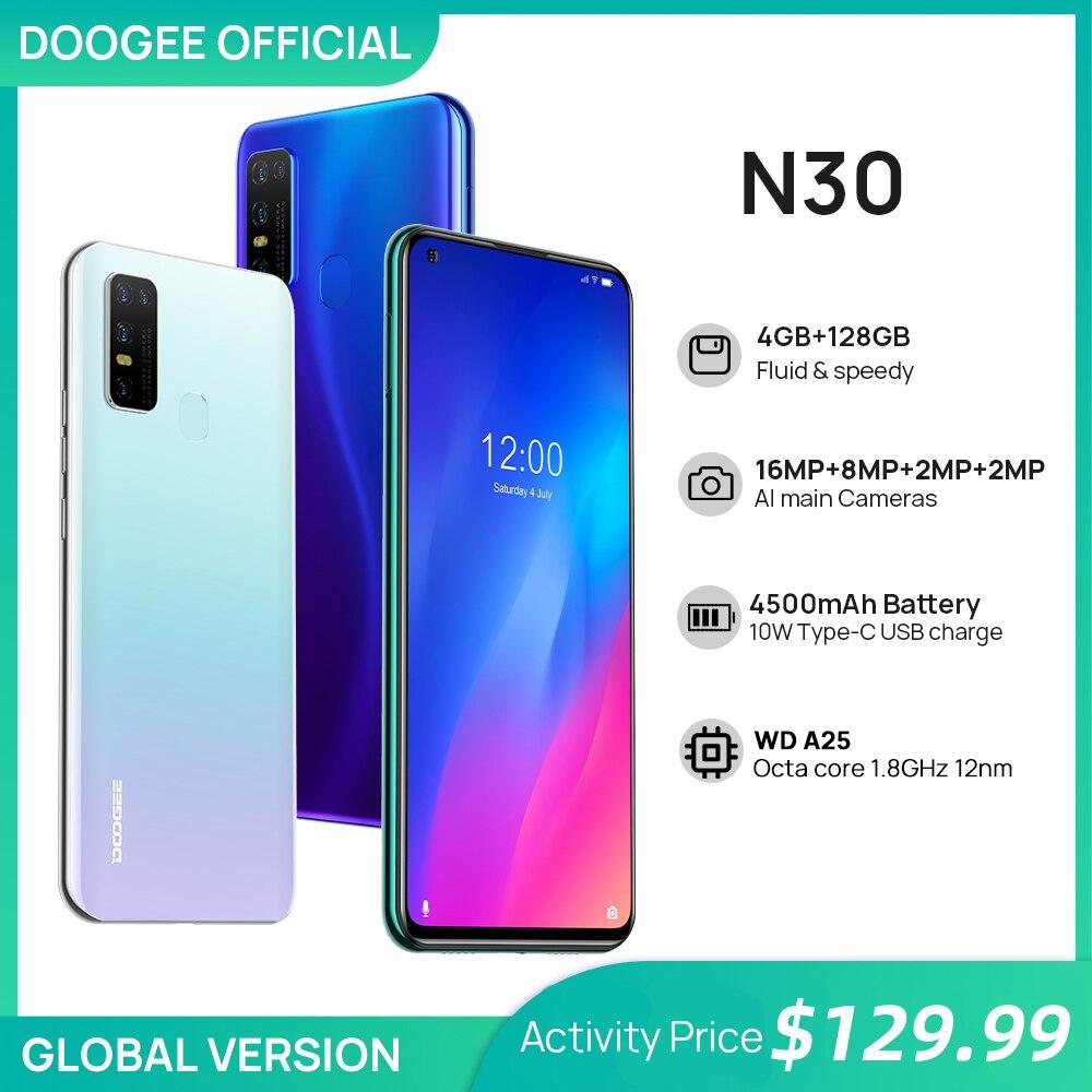 DOOGEE N30 Full Netcom 6,5-дюймовый перфорированный дисплей четыре камеры 128 ГБ ПЗУ Восьмиядерный процессор Глобальная версия Батарея 4500 мАч ОС Android 10
