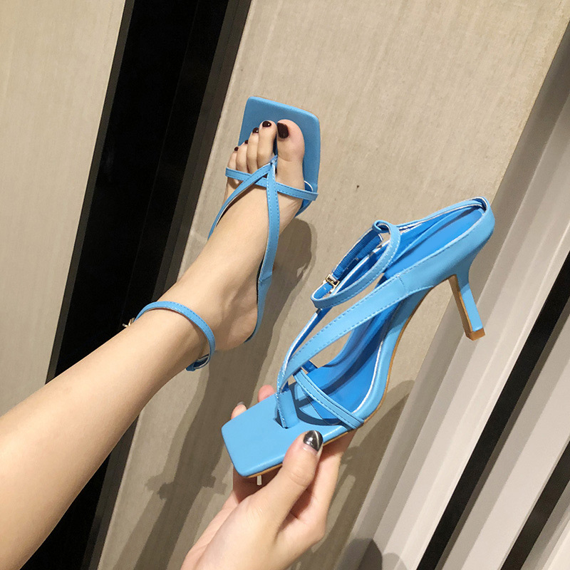Narrow Band Women Square Toe Sandals Thin High Heel Shoes Woman Clip Toe Ladies Buckle Strap Summer Female Fashion Footwear 2020