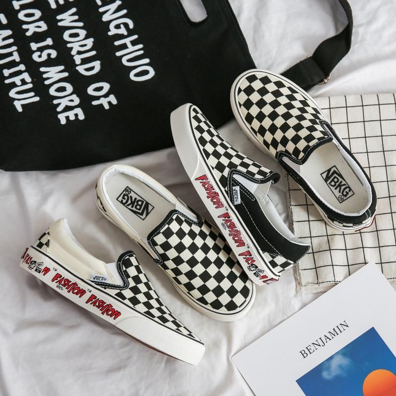 Zapatos de Skateboarding antideslizantes para hombre y mujer, zapatillas de lona de alta calidad, vulcanizados, en blanco y negro
