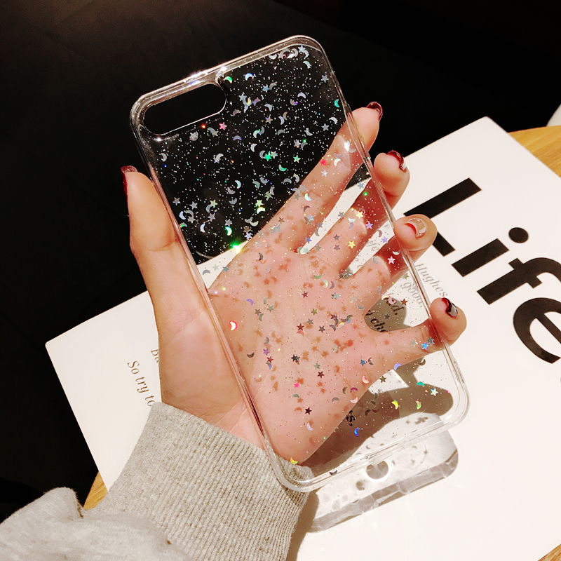 Hfd74409f72554ab48842972047d9c0ab3 - For Apple iPhone 11 Pro 6 6s 8 7 Plus XR 10 X XS Max 5S Cover Glitter Bling Star Moon Sequins Soft TPU Clear Silicone Phone Case