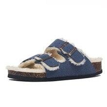 Man Sandals Cork-Slippers Flip-Flops Winter Flat-Shoes Casual New Warm Eu Autumn 35-45