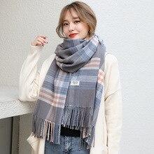 2019 Plaid Winter Scarf Women Warm Foulard Solid Scarves Fashion Casual Scarfs Cashmere Bufandas Hombre