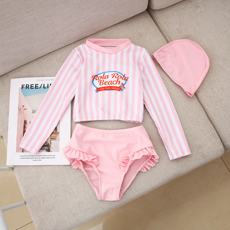 With Swimming Cap Girls High Waist Briefs Split Type Two Piece Set Bathing Suit Long Sleeve Sun-resistant Cute Korean-style Hot