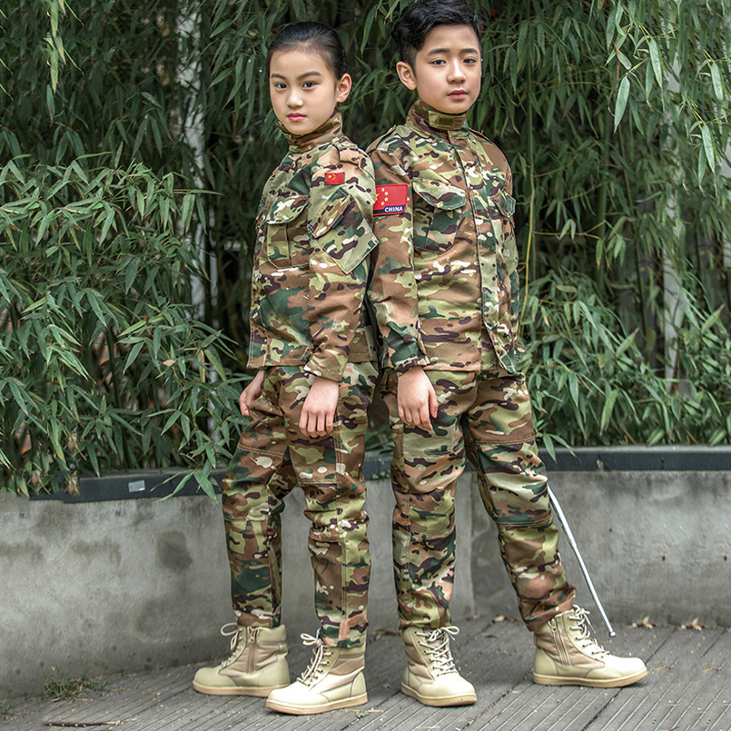 Children Military Uniform Kids Summer Camp Training Suit Girls Boys Camouflage Pants And Shirts Sets Army Combat Clothing
