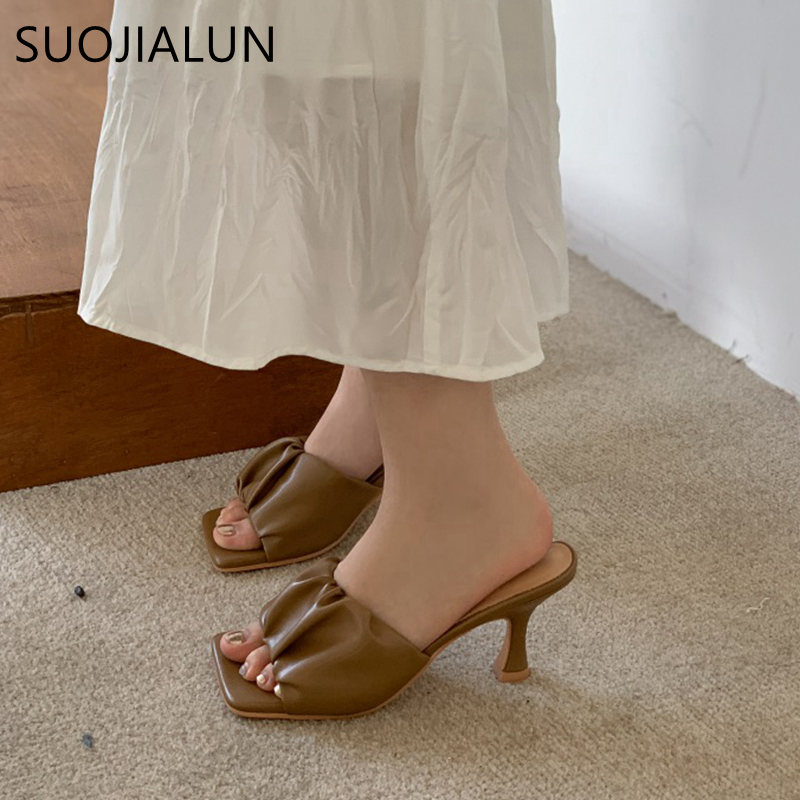 SUOJIALUN New Brand Women Slipper Fashion Pleated Summer Sandal Sexy Thin High Heel Slip On Slides Summer Outdoor Dress Shoes
