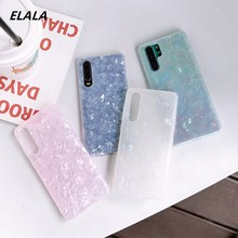 Glossy Marble Case For Huawei P20 Lite P30 Pro Mate 20 Plus Bling Conch Shell Epoxy Silicone Glitter Soft TPU Cover