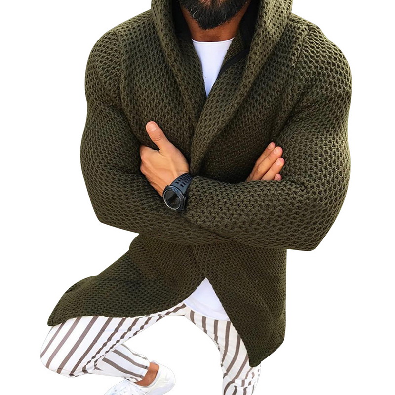 MoneRffi Men Long Sleeve Midi Sweater Black Cardigan Mens Coat Winter Autumn Casual Solid Color Cardigan Male Pull Homme Hiver