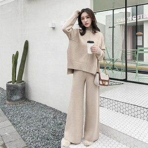 Image 1 - Cbafu outono inverno 2 peça conjunto feminino terno de malha solto meia gola alta camisola pernas largas calças terno treino p546