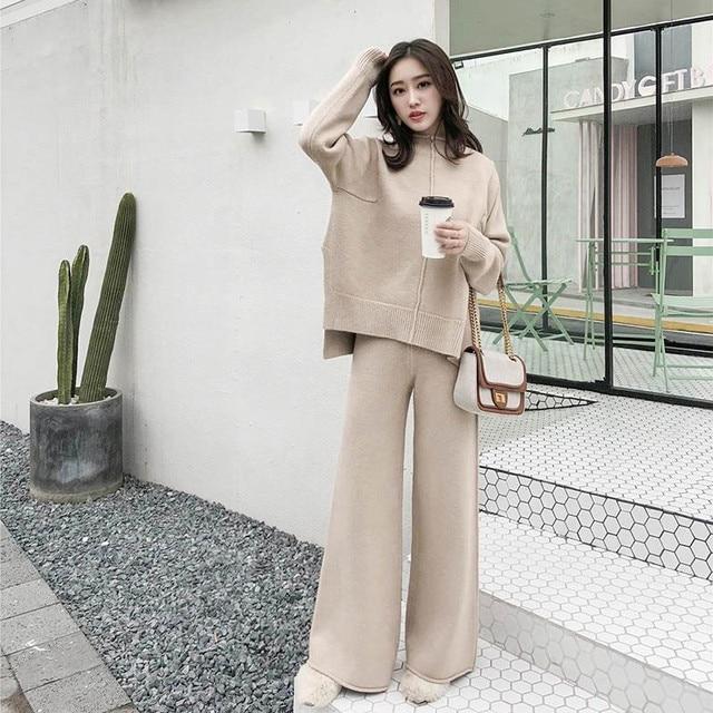 Cbafu outono inverno 2 peça conjunto feminino terno de malha solto meia gola alta camisola pernas largas calças terno treino p546