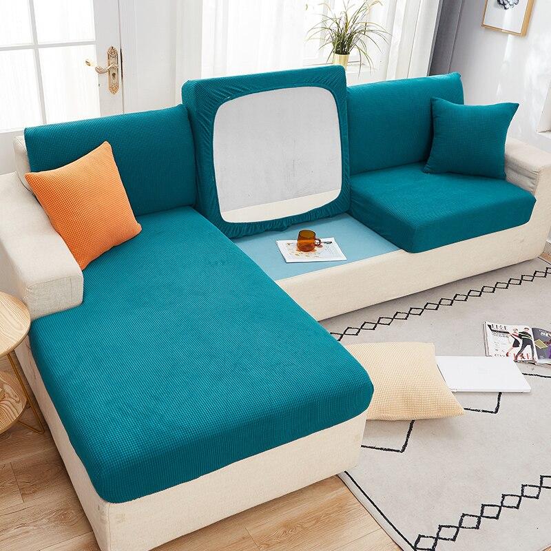 Funda de cojín del asiento del sofá elástica de Color sólido para mascotas, Protector de muebles para niños, forro Polar elástico lavable, funda deslizante extraíble