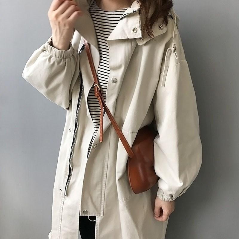 Autumn Women Casual Long Sleeve Hooded Trench Coat Harajuku Korean Female Windbreaker Long Trench Overcoat