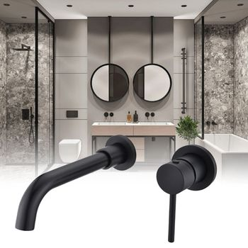 1Set Wall Mounted Basin Faucet Metal Single Handle Hot Cold Mixer Water Tap for Home Bathroom Bath Sink