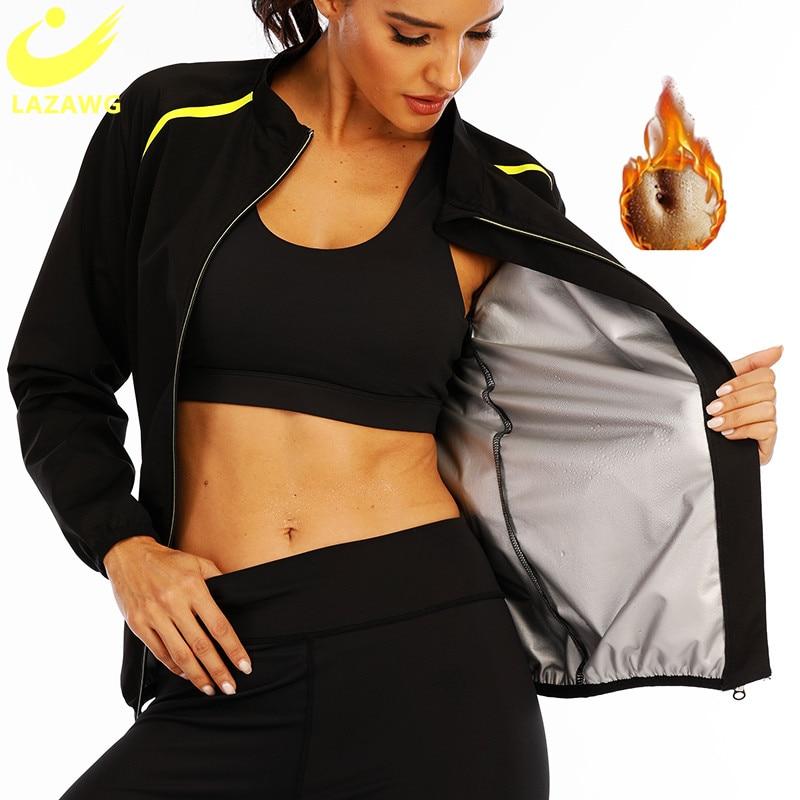 LAZAWG gümüş kaplı vücut şekillendirici spor egzersiz bel eğitmen en sıcak ter neopren Sauna ter tankı üstleri uzun eğitim fermuar