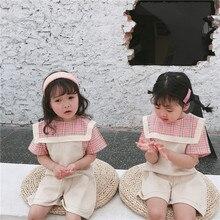 Летняя одежда Новые товары в Корейском стиле для девочек, клетчатая рубашка для девочек топ с короткими рукавами