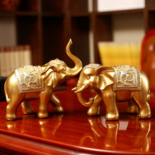 European-style Furnishing Creative Resin Crafts Two Elephant Model Design Living Room Home Decortaion Gift 23x23cm