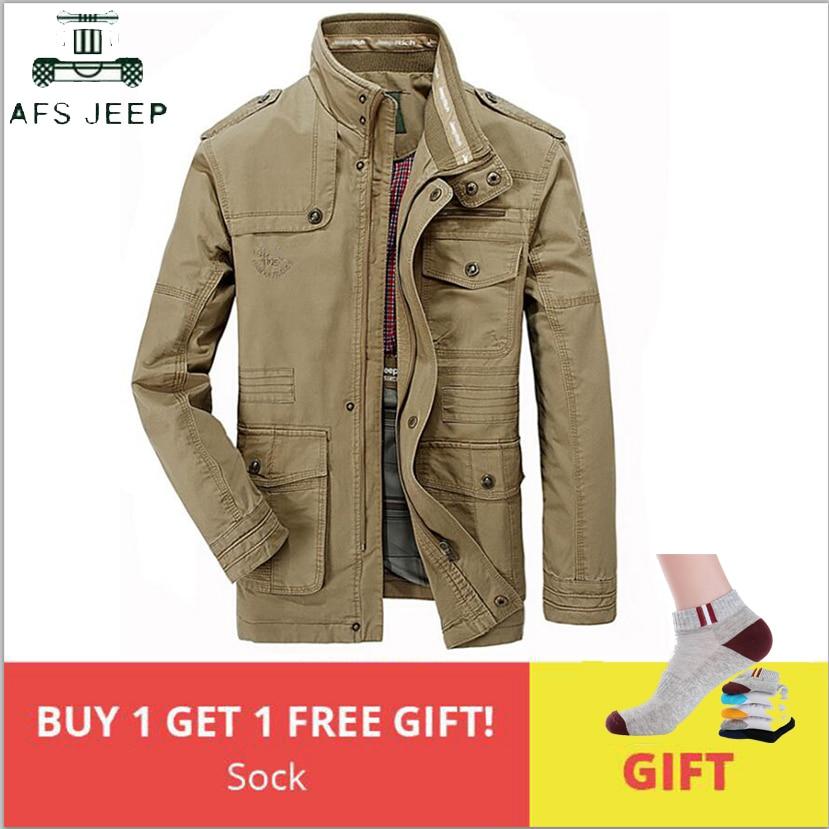 AFS JEEP 100% Cotton Military Jacket Men Stand Collar Winter Multi-pocket Mens Causal Windbreaker Long Flight Jackets Size L-8XL
