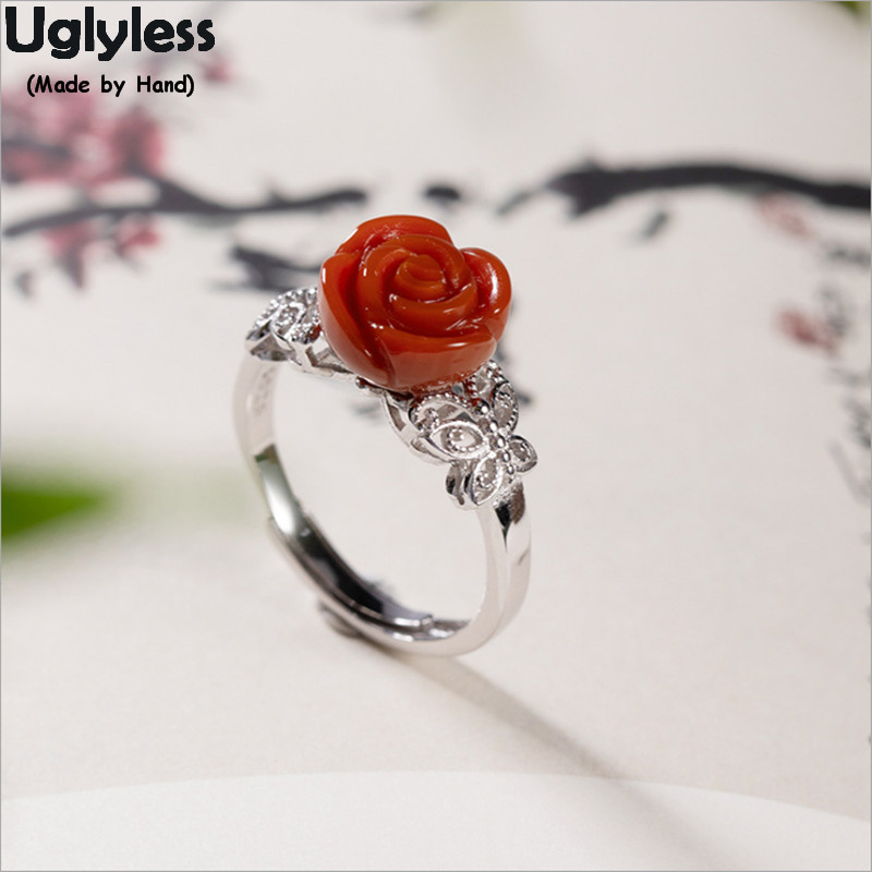 Uglyless Real 925 Silver Hollow Butterflies Lovely Rings for Women Coral Red Agate Rose Ring Open Free Size Flower Jewelry R1013