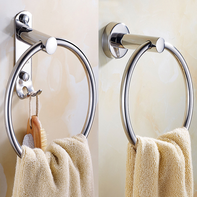 Bathroom Hardware Pendant Hole Punched Towel Hook 304 Stainless Steel Bathroom Towel Ring Circle Towel Rack