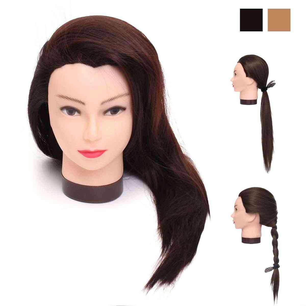 70cm Real Human Hair Hairdressing Training Mannequins Wig Head Professional Salon Practice Head Hairdresser Styling + Bracket