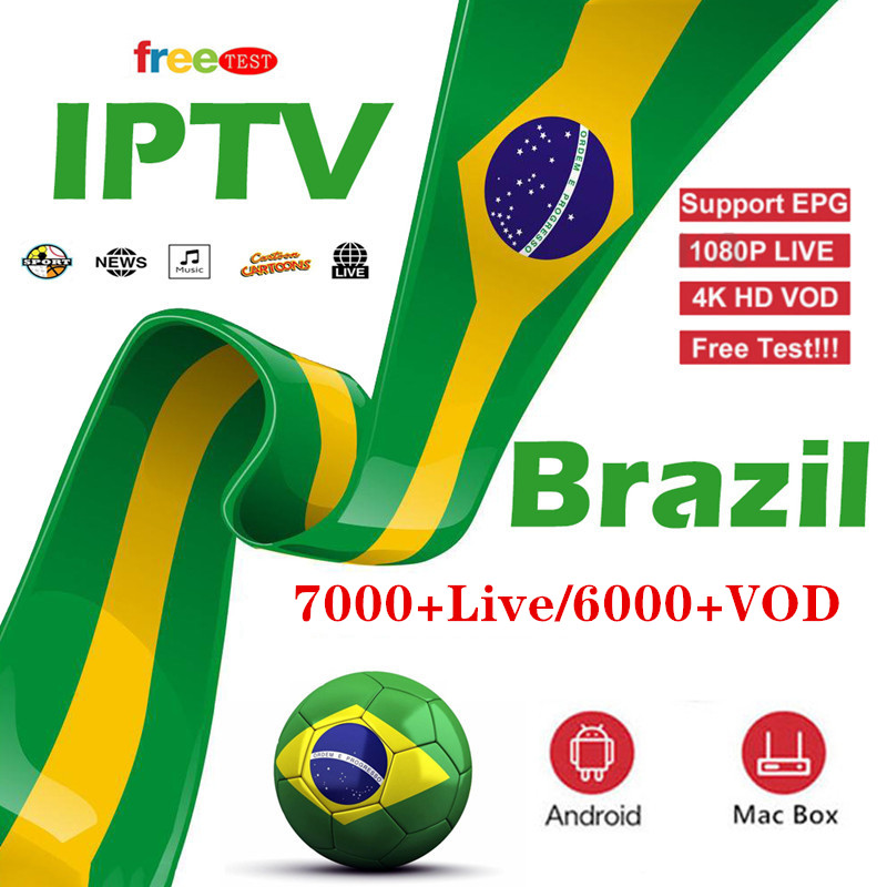 World IPTV Brazil IP TV Subscription HBO ESPN For Smart IPTV Boxes Xtream M3u Smartphones With 6000+ Vod Music Cinema Adult Live