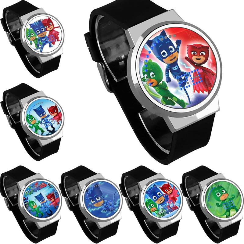 Pj Masks Waterproof Touch Digital Watch PJ Mask Small Masked Man Creative LED Male Wristwatch Kids Children Birthday Gifts S82