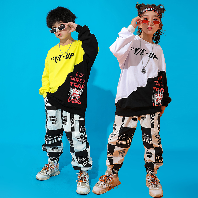 Fashion Hip Hop Dance Costumes Stitching Street Dance Performance Clothing Kids Practice Clothes Jazz Stage Rave Outfit DC3227