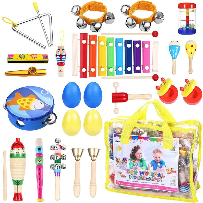Percussion Set Kids Children Toddlers Musical Toys Band Rhythm Kit Instruments For Preschool Educational Tools For Children