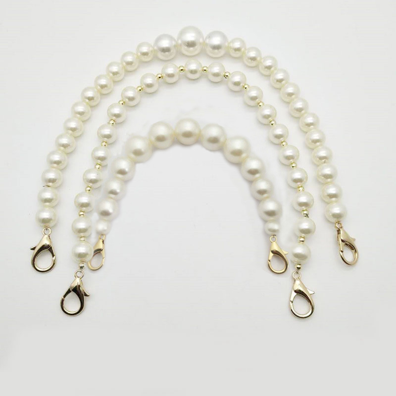 Women DIY Sweet Faux Pearl Beaded Handbag Strap Lady Purse Belts Bag Accessory Purse Belt Handles Cute Bead Chain Tote