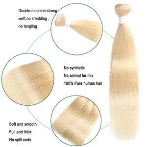 Image 5 - 613 בלונד ברזילאי ישר שיער טבעי חבילות 3/4pcs דבש בלונד שיער טבעי Weave חבילות Soku 100% רמי ombre שיער חבילות