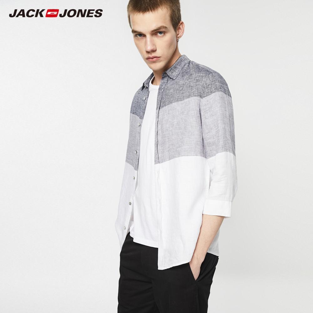 JackJones Men's Linen Assorted Colors 3/4 Sleeves Shirt Menswear| 219131508