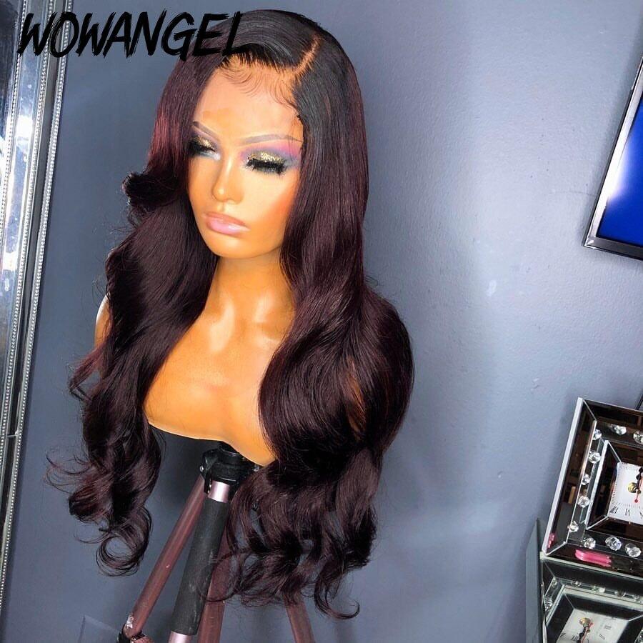 Wowangel 13X6 Lace Front Dark Ombre Burgundy Human Hair Wigs PrePlucked Brazilian Body Wave Wig With Baby Hair Remy 180% Density