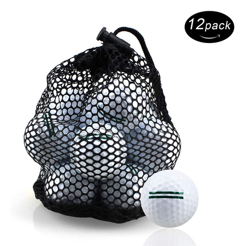 Bolas de Golfe Profissional ao ar Bolas com Bolsa de Armazenamento Crestgolf Pratice Livre Duas Camadas Distância Branco Color-12pcs – Bolsa
