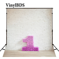VinylBDS Weiße Ziegel Wand Kulissen Neugeborene 1st Geburtstag Hintergrund Vintage Holzboden Hintergrund für Kinder Foto Studio-in Hintergrund aus Verbraucherelektronik bei