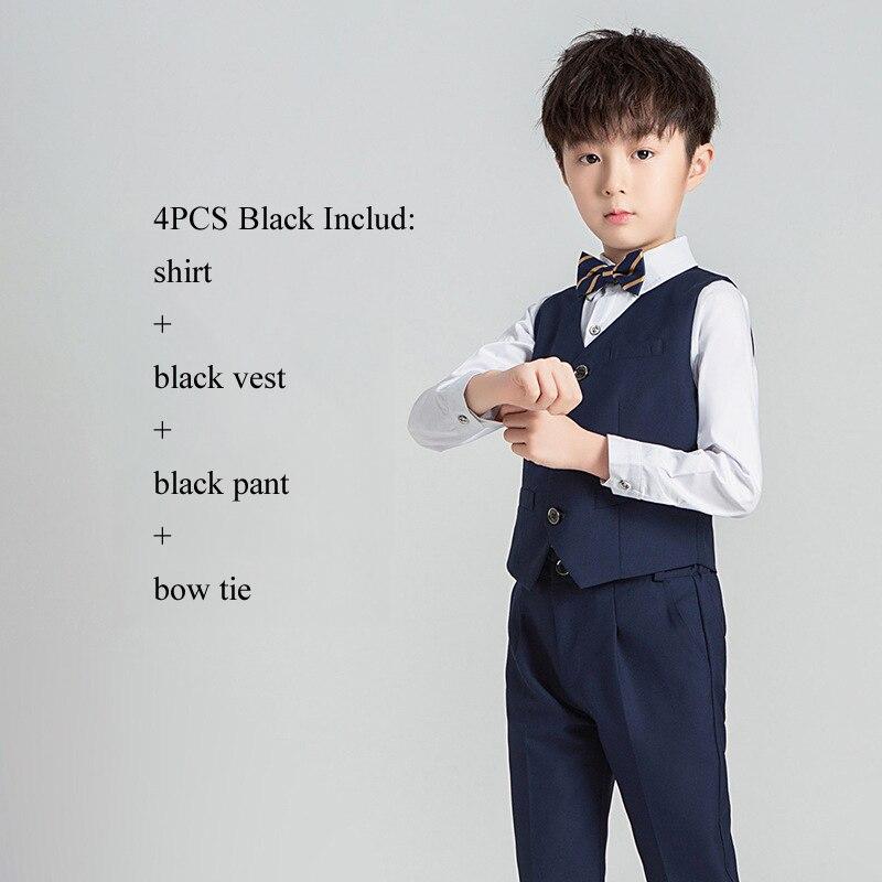Костюм с цветочным принтом для мальчиков Детский Блейзер, торжественное платье, комплект одежды для свадьбы, 3/4/5 предметов, костюм+ штаны+ жилет+ рубашка+ галстук, Детские смокинги Garcon - Цвет: NavyBlue Vest 4PCS