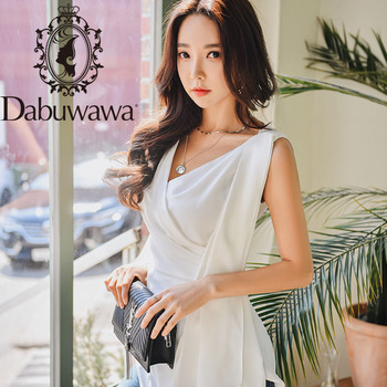 Dabuwawa Vintage Cross Front Womens Blouses V-Neck Asymmetrical Hem Solid Slim Fitted Shirts Tops Office Lady DT1BST010 deep v neck asymmetrical hem dress