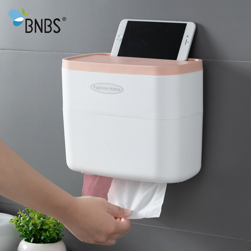BNBS Toilet Paper Holder Rack For Paper Towels Bathroom Accessories Wall-mounted Storage Tissue Box Bathroom Wc Paper Holder