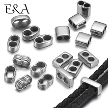10pcs Double Hole Beads Fit 5mm 4mm Round Leather Cord Bracelet Spacer DIY Jewelry Making 316L Stainless Steel Metal Accessories