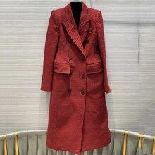 Осень-зима Для женщин пальто высокое качество тонкие длинные клетчатые куртки женские элегантные шерстяное пальто, верхняя одежда