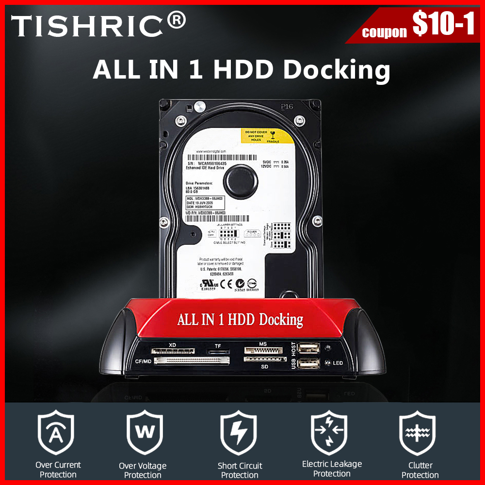 TISHRIC All In One Hdd Docking Station ESATA To USB 2.0/3.0 Hard Disk Drive Docking Station For 2.5/3.5 Hard Disk Enclosure