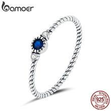 Bamoer mavi zirkon parmak yüzük kadınlar için 925 ayar gümüş Retro nişan düğün takısı moda aksesuarları SCR693