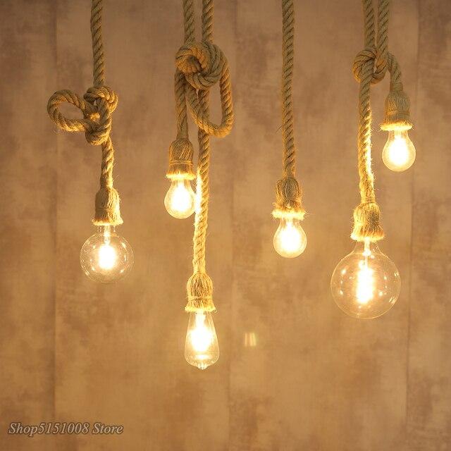 Hemp Rope Pendant Lights Vintage Retro Loft Industrial for Living Room Kitchen Hanging Lamp Luminaire Home Decor Light Fixtures