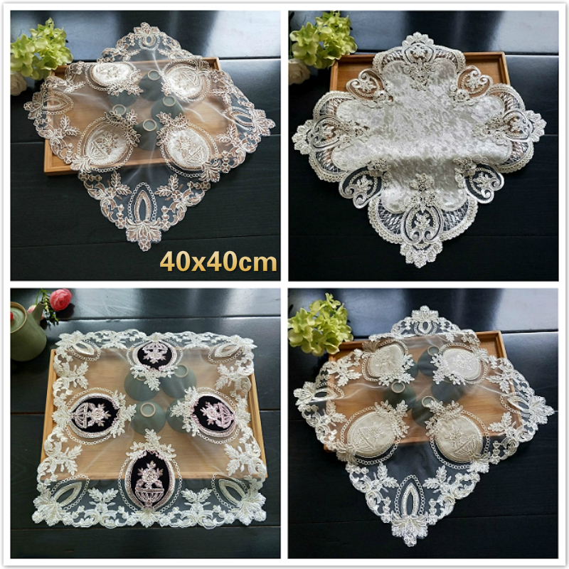 Luxury European Mesh Splice Embroidery Restaurant Kitchen Placemat For Dining Coffee Table Mat Napkins Christmas Wedding Coaster