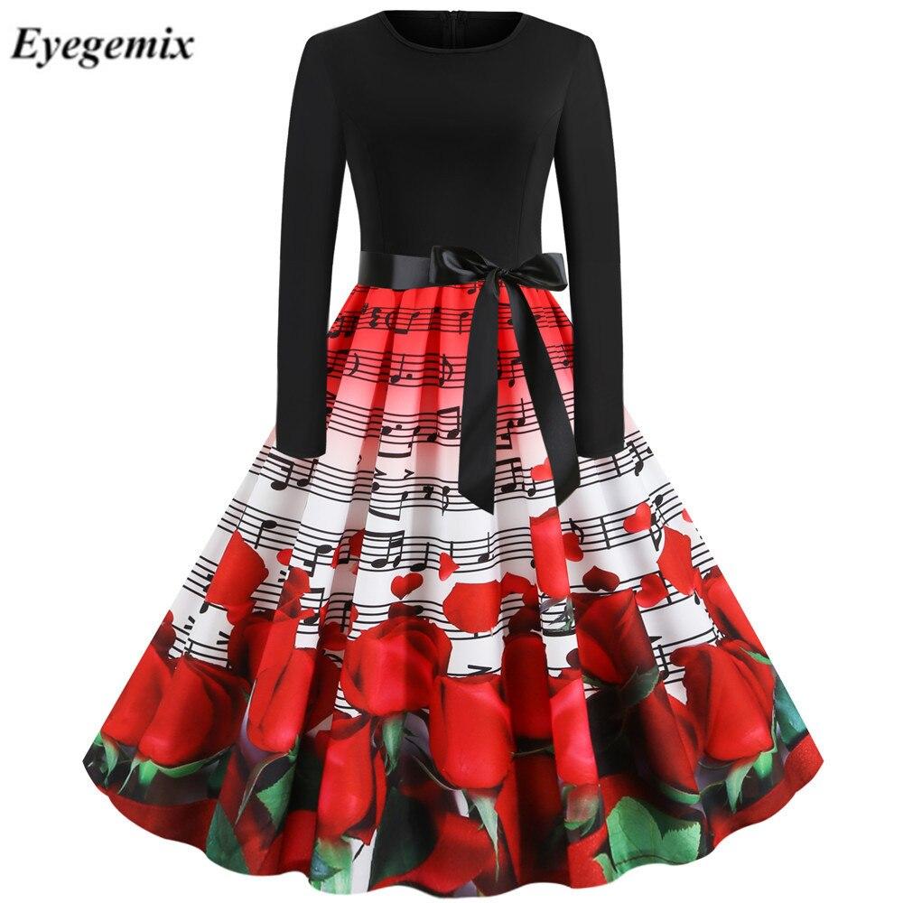 Floral Rose Print Dress Vintage Women Long Sleeve 50S 60S Elegant Vestido 2020 Valentines Day Party Dresses Pin Up Black Chic